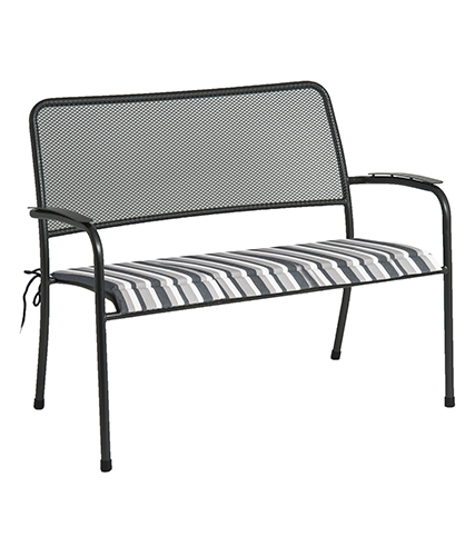 7956CHST BENCH CUSH. CHARCOAL STRIPE £35.00