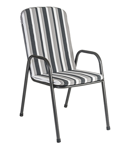 7982CHST HIGHBACK CHARCOAL STRIPE SEAT CUSH. was £35.00 NOW ONLY £31.50